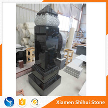 New Style Hot Sale Black Marble Tombstone