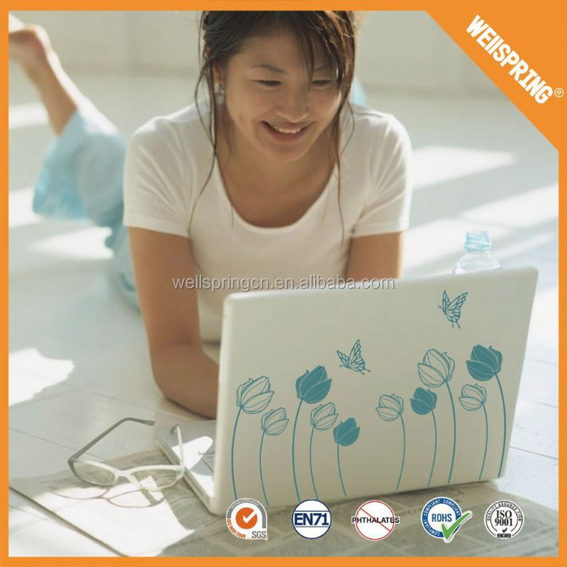 Hot sale glossy flowers wall sticker laptop declas