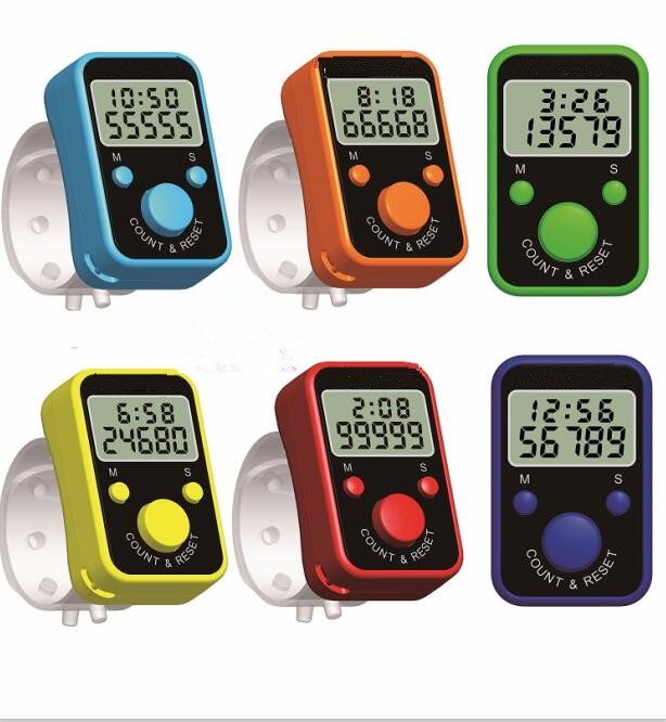 New coming LED ring hand tally counter with time display