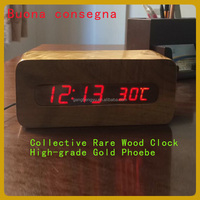 Solid wood digital LCD shows wooden clock