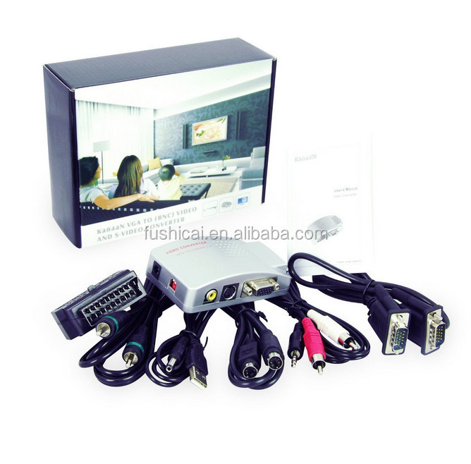 PC VGA to TV AV Composite Yellow RCA S-Video Converter Box for Laptop Notebook