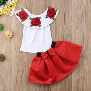fbbb3634163768 2PCS Summer Kids Baby Girl Off Shoulder Embroidery Rose T-shirt Top+Bowknot  Mini