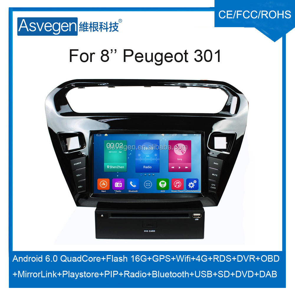 Wholesale Android Car DVD Player for 8'' Peugeot 301 Navigation Car DVD GPS Support Playstore,4G,WIFI