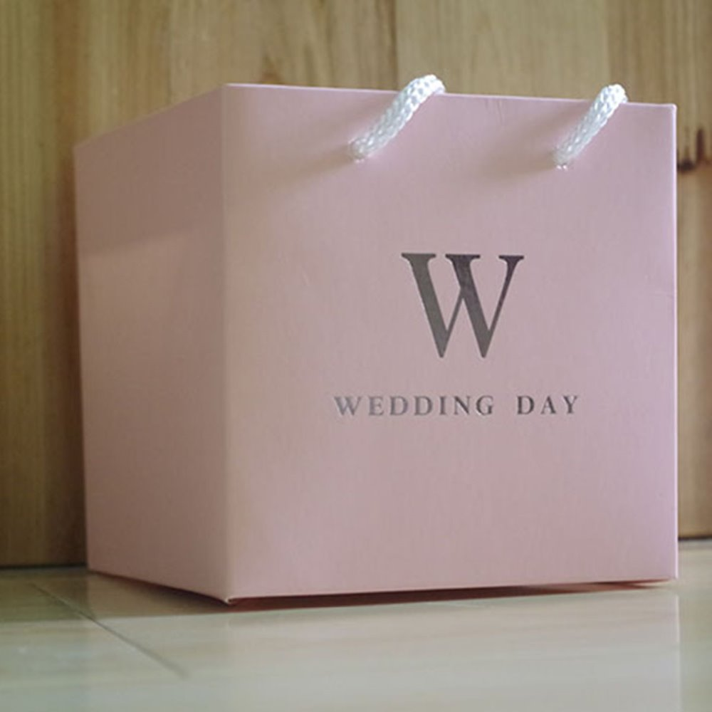 five colors small wedding favor custom paper gift packaging bags with handle