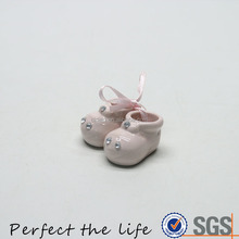 Small ceramic pair shoes with diamonds porcelain gift set for baby