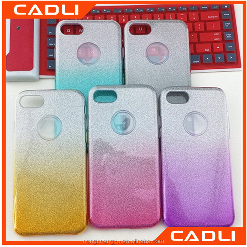 3 In 1 TPU PC Slim Shinning Powder Glitter Mobile Phone Case Gradient Color Transparent Shell Protective Phone Cover For iPhone7