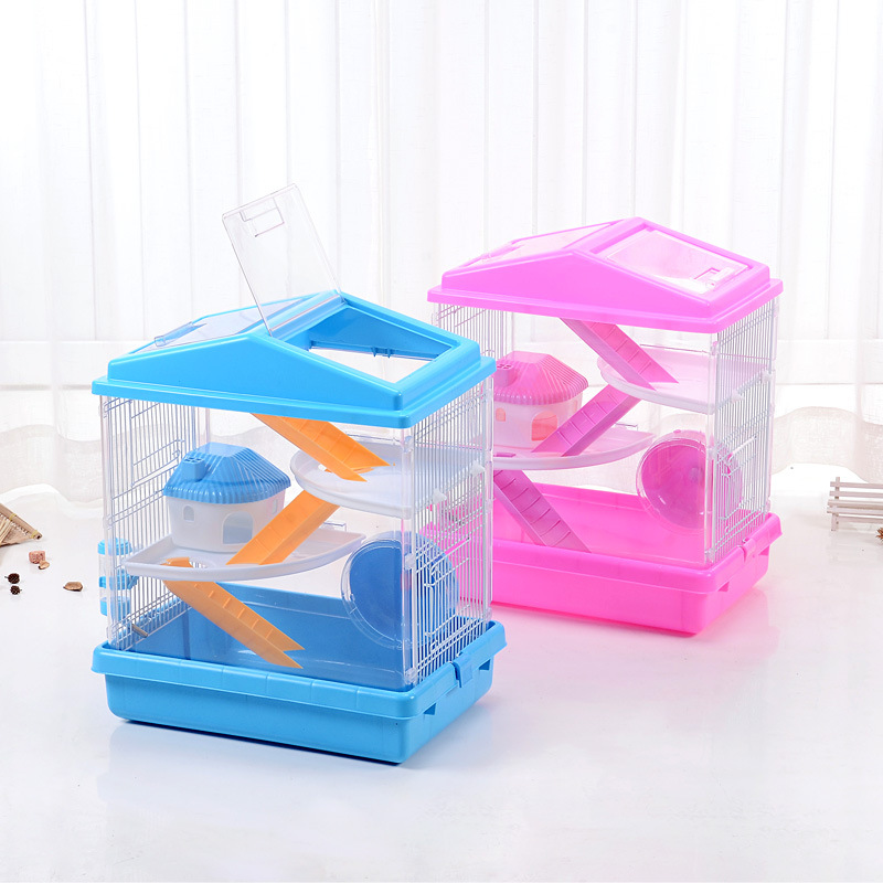 Wholesale Top Quality Foldable Hamster Cage with Pot and Wheel Pink