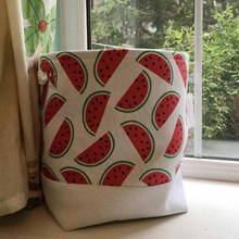 Fruit printed round washable handle canvas storage basket