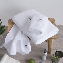 Promotional soft pure hotel cotton bath towel white eco friendly import