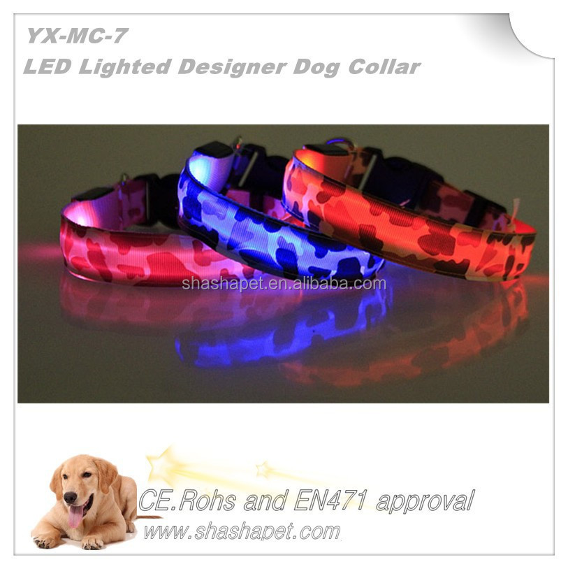 Camouflage color Designer LED pet collar with <strong>L</strong>.E.D Lighted dog collar