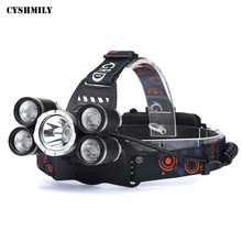 CYSHMILY Rechargeable Waterproof Switch 5 Headlamp Bright Light Headlight Flashlight 4 Modes XML-T6 LED Headlamp For Camping