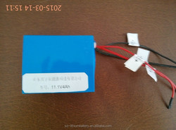 18650 battery pack rechargeable 11.1V 4Ah for smart appliance using li ion cell