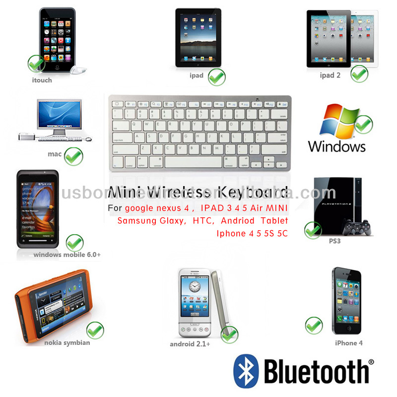 mini bluetooth keyboard for Samsung galaxy note10.1 IPAD Air Mini IPAD 2 3 4 iphone 5 5c 5S google nexus 4 Android tablet HTC