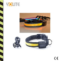 Reflective Solar Powered and USB Rechargeable Waterproof LED Pet Collar with Micro-USB Changer wire
