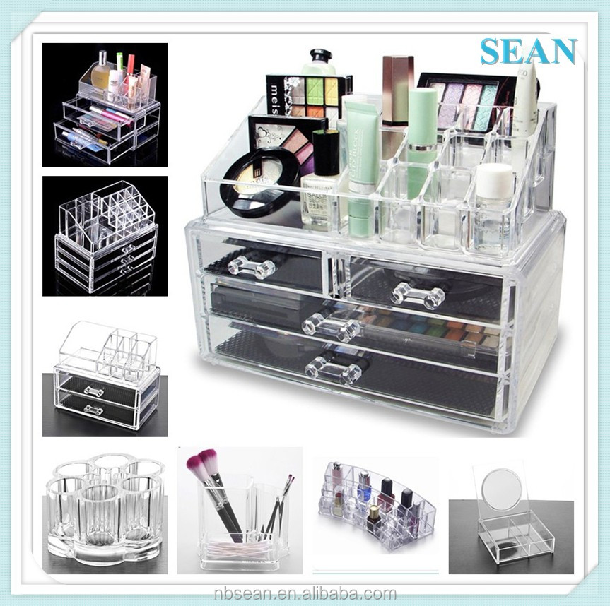 manufacturer supplies cheap clear acrylic 4 drawer makeup organizer