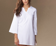 Wholesale Sexy Long Sleeves Plain Dyed Ladies White 100% Organic Cotton popolin Sleeping Nightshirt