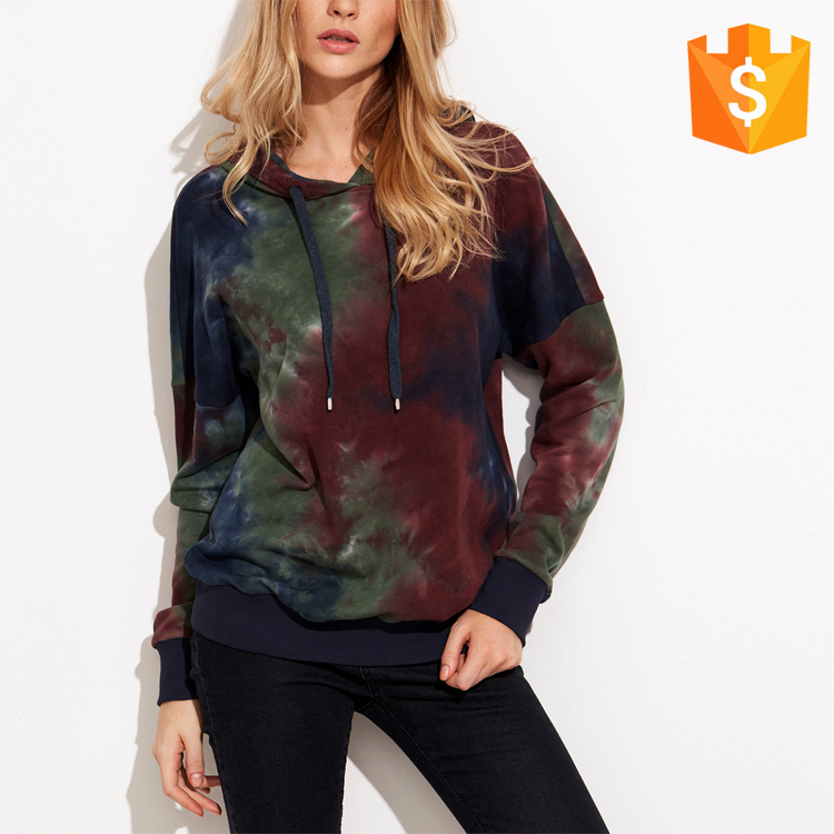 100% cotton long sleeve multicolor tie dye print drop shoulder women fancy hoodies