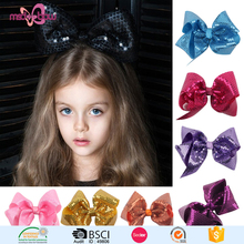 Popular sale teenage kids sequin glitter hair bows with clips