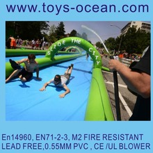 Popular dual lanes airtight inflatable water slide the city, 1000 ft slip N slide