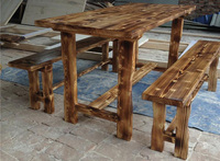 Garden Solid Wood Long Table and Bench