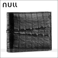 handmade mens genuine crocodile skin leather bi-fold short wallet