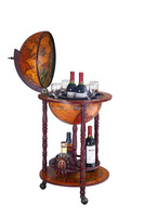 "14.2""/360mm diam wooden antique globe glass wine bar cabinet"