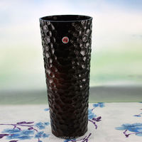 Hot selling tall cylinder black glass flower vases,Special texture of black vase