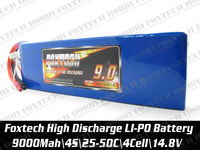 Hot sales Foxtech 4s 9000mah lipo battery,high discharge for RC multicopter,helicopter,plane