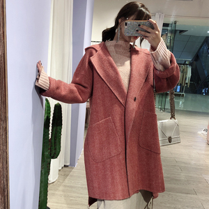 Korean style long and wide style women red wool coat