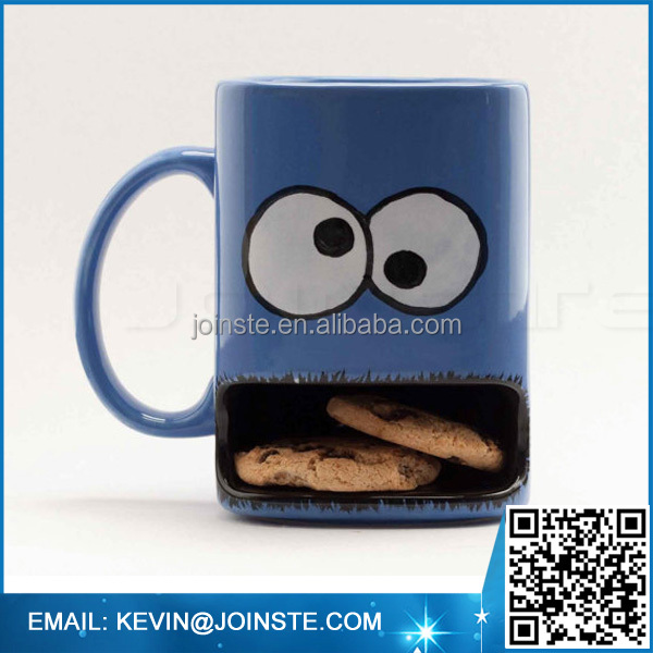Custom ceramic cookie monster mug,ceramic cookie holder mug