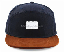 Navy Blue and Brown Flat Brim 6 Panel Custom Snapback Hat/Special Shape Snapback Hat