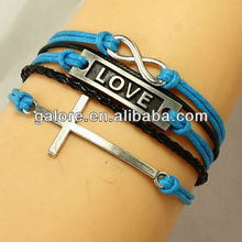 love cross and infinity symbol women stainless steel bracelet