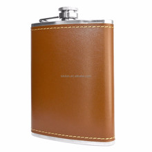 leather covered stainless steel hip flask with PU leather wrap