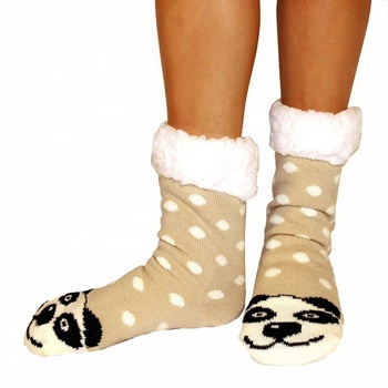 China Wholesale Colorful Cartoon Animal Women's Thick Adult Slip-Resistant Acrylic Socks