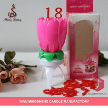 Hot sale pink birthday flower shape candle