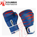 Blue artificial leather PU boxing gloves with printing