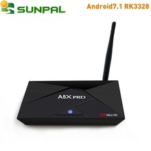 Cheapest Android7.1 RK3328 TV Box A5X PRO DDR3 2GB 16GB Flash Quad Core 5G Dual Wifi H265 Android 7.1 TV Box 2G 2GB