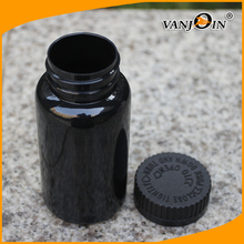150cc Glossy Black Pill Bottles with Safty Caps