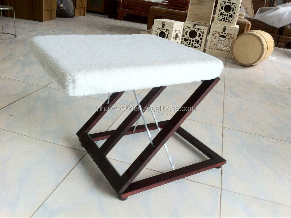 Z-shaped Adjustable Wooden Folding Foot rest Stool