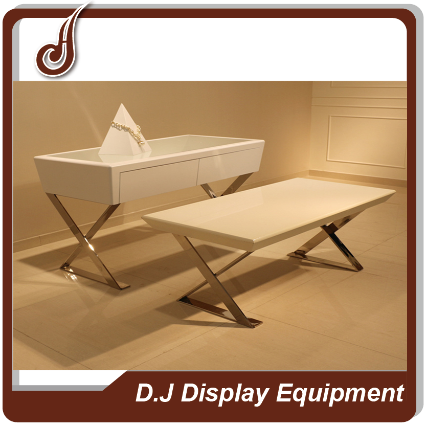Unique design customized size FR-MDF and stainless steel material glass jewelry display table