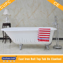 Single ended cast iron clawfoot bath/Roll top cast iron clawfoot bathtub