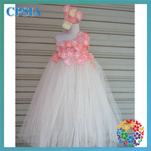 new fashion baby christening dress 2 layers kids bridal dresses with flower headband set