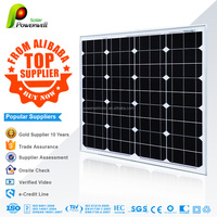 Powerwell Solar 50 watt 18v monocrystalline solar panel with CEC/IEC/TUV/ISO/INMETRO/CE certifications
