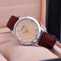 Classic Stainless Steel Back Genuine Leather Strap Men Watches Water Resistant 3ATM