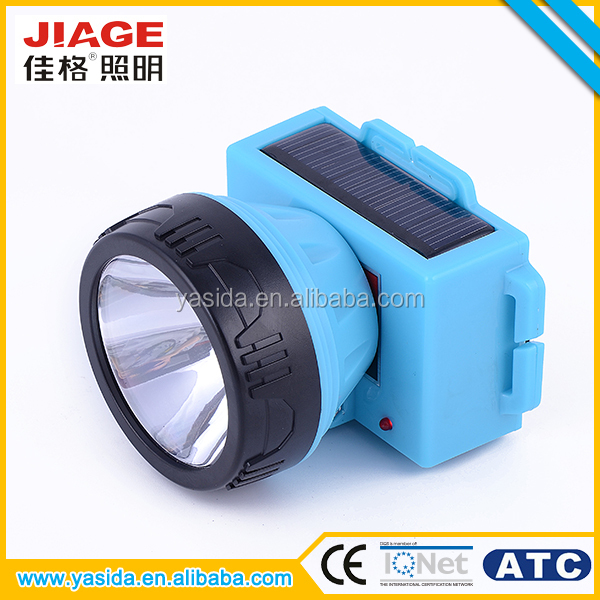 China 3w solar rechargeable led coal miners head lamp