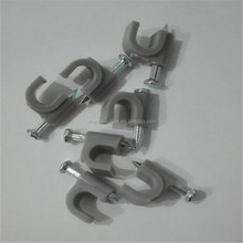 Grey Color circle nail plastic wall cable fixing clip,wire clips