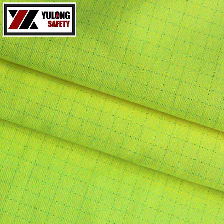 Wholesale EN1149-3 certificate electrically conductive woven twill soft poly cotton anti-static fabric for man suit