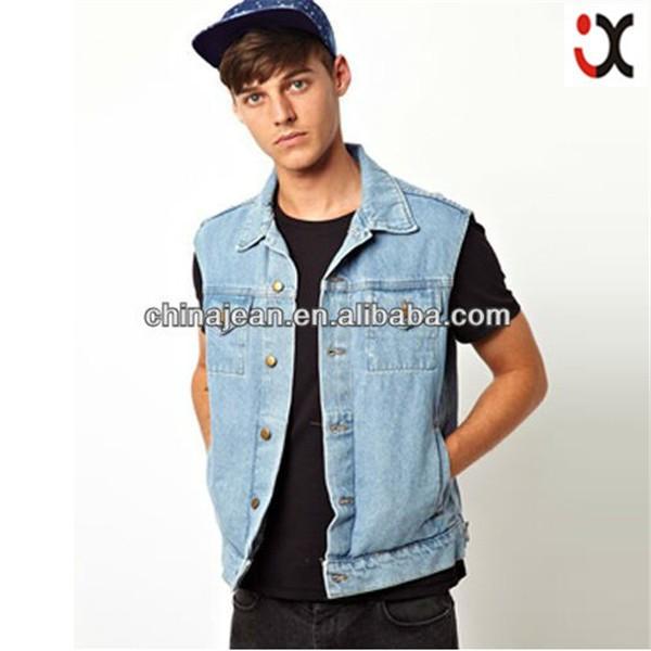 2015 denim sleeveless jacket men wholesale cheap jeans for Mens sleeveless denim shirt wholesale