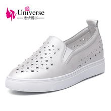 E101 crystal decorated hallow out genuine leather women shoes soft flats