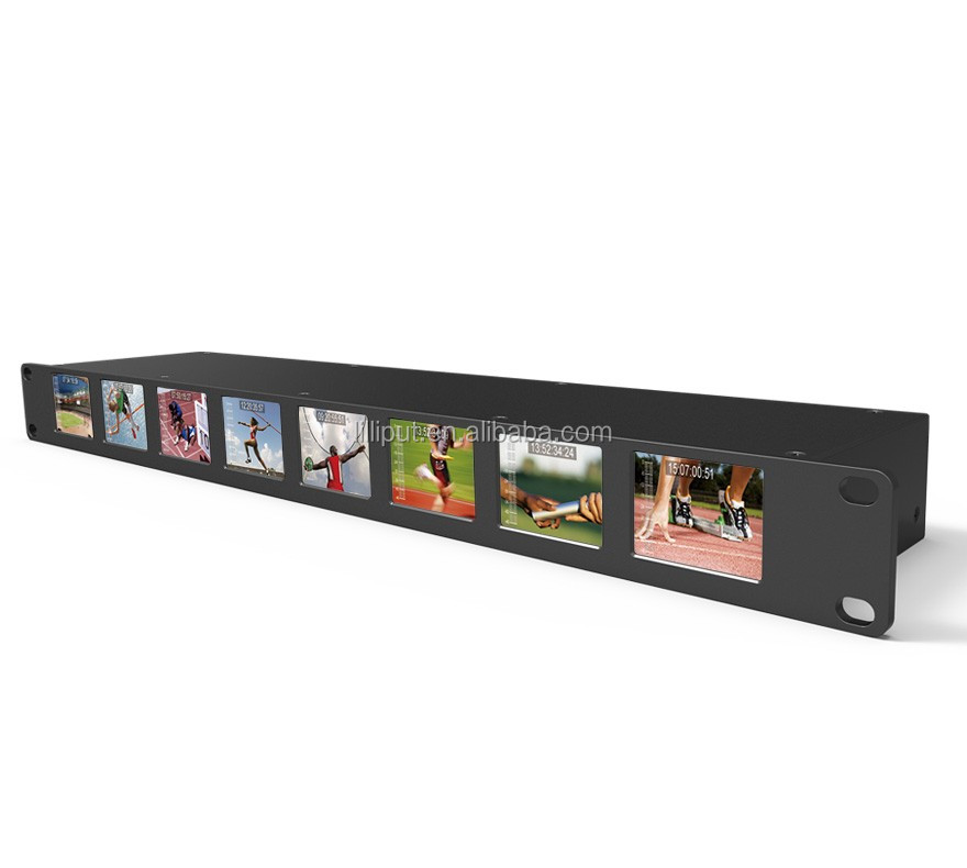 "8 * 2"" 1RU Rackmount Monitors with SDI equalization and re-clocking"